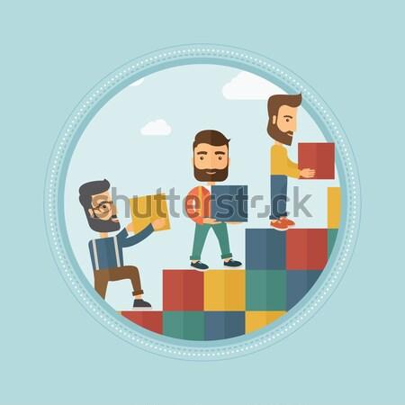 Group of businessmen building career ladder. Stock photo © RAStudio