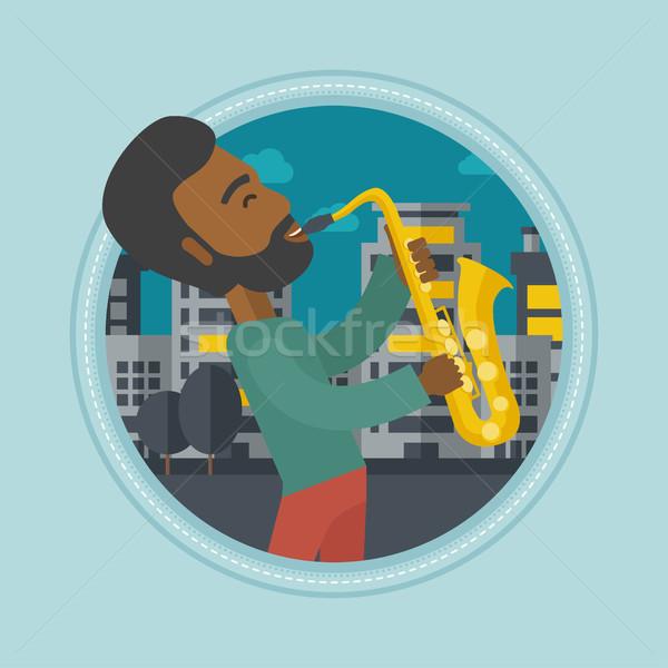 Musician playing saxophone vector illustration. Stock photo © RAStudio