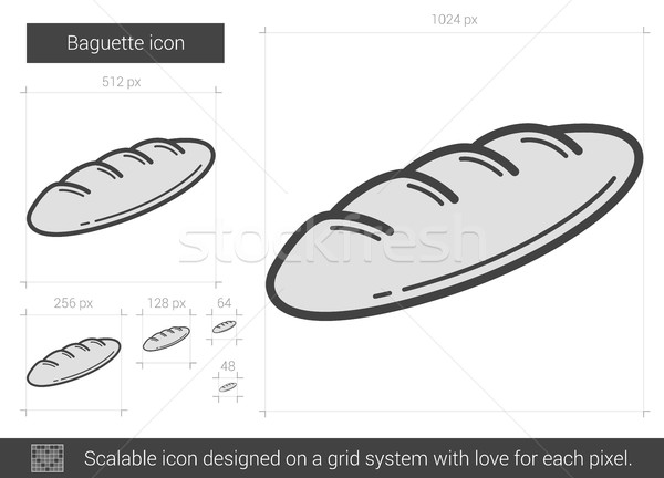 багет линия икона вектора изолированный белый Сток-фото © RAStudio