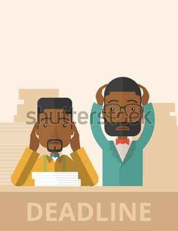 молодые друзей говорить олово телефон африканских Сток-фото © RAStudio