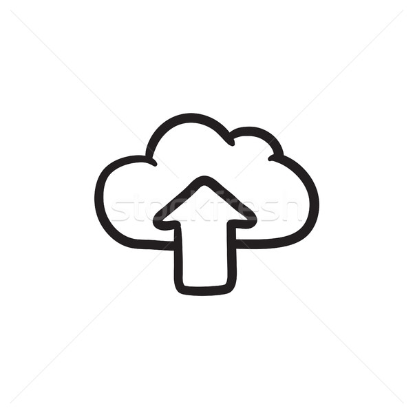 Foto d'archivio: Nube · arrow · up · sketch · icona · vettore