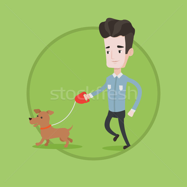 Young man walking with his dog vector illustration Stock photo © RAStudio