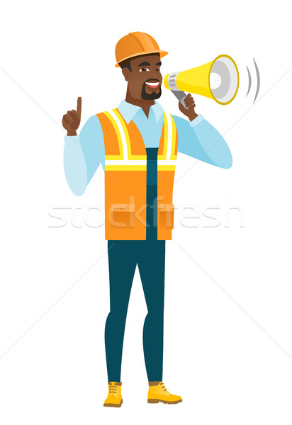 African-american builder making announcement . Stock photo © RAStudio