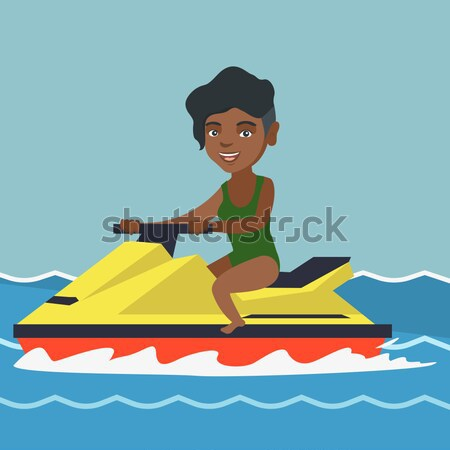 Afrikai férfi képzés jet ski tenger víz Stock fotó © RAStudio