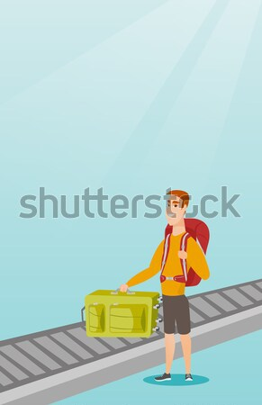 Woman using smartphone on escalator in airport. Stock photo © RAStudio