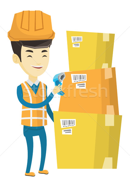 Entrepôt travailleur Barcode boîte asian scanner Photo stock © RAStudio