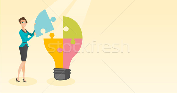 Student with idea lightbulb vector illustration. Stock photo © RAStudio