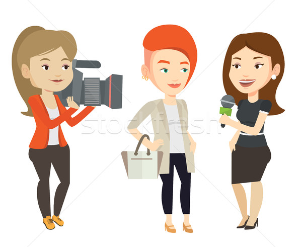 TV interview vector illustration. Stock photo © RAStudio