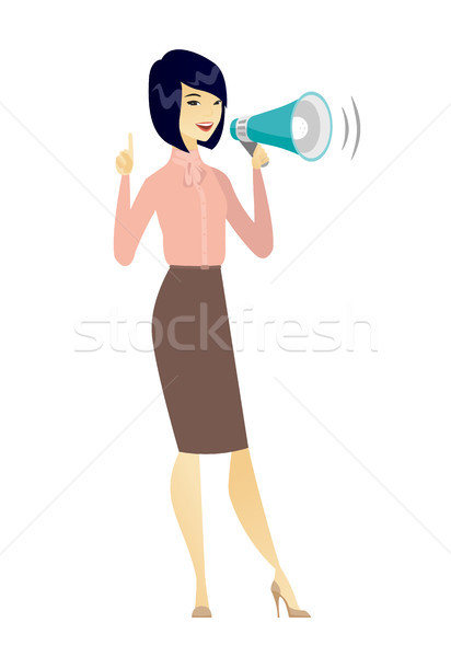 Asian zakenvrouw praten luidspreker aankondiging Stockfoto © RAStudio