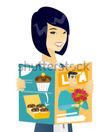 成功した アジア ビジネス女性 読む 雑誌 小さな ストックフォト © RAStudio