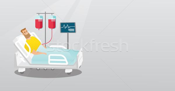 Férfi kórházi ágy kaukázusi ágy kórház beteg Stock fotó © RAStudio