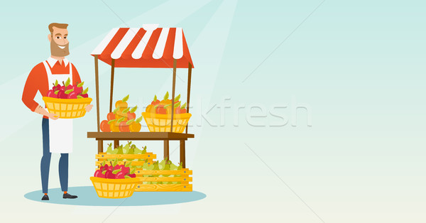 Street seller with fruits and vegetables. Stock photo © RAStudio