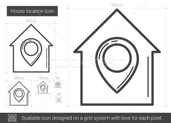 Casa ubicación línea icono vector aislado Foto stock © RAStudio