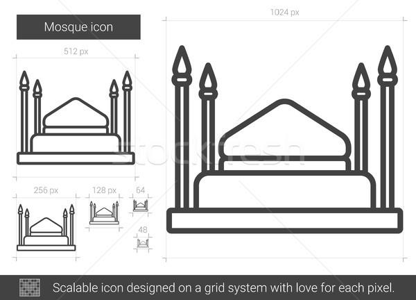 Foto stock: Mesquita · linha · ícone · vetor · isolado · branco