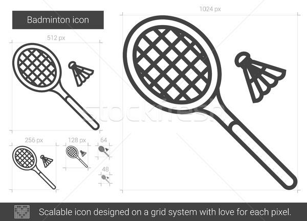 Badminton linha ícone vetor isolado branco Foto stock © RAStudio