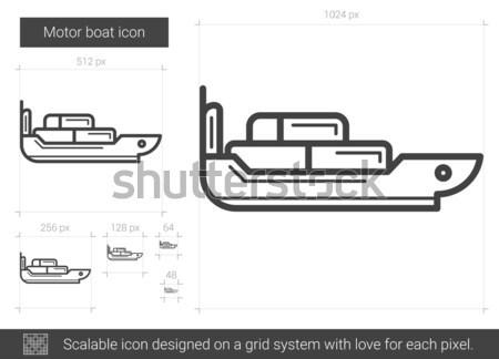 Motorcsónak vonal ikon vektor izolált fehér Stock fotó © RAStudio