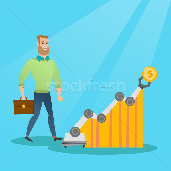 Man naar winst grafiek robotachtige arm Stockfoto © RAStudio