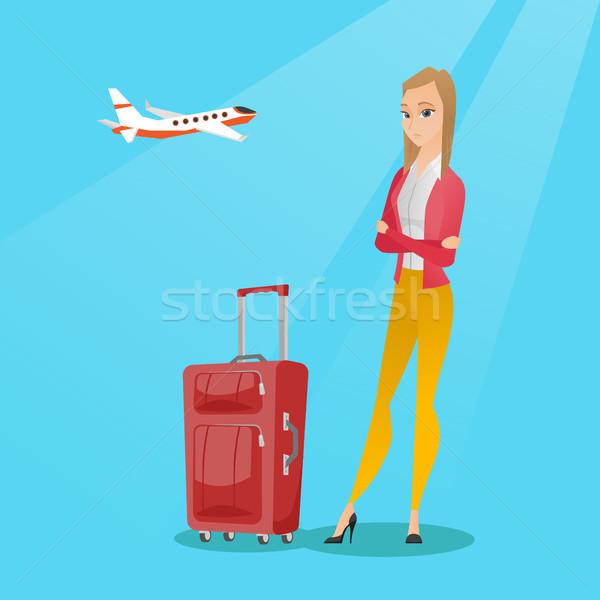 Caucasiano mulher sofrimento medo voador jovem Foto stock © RAStudio