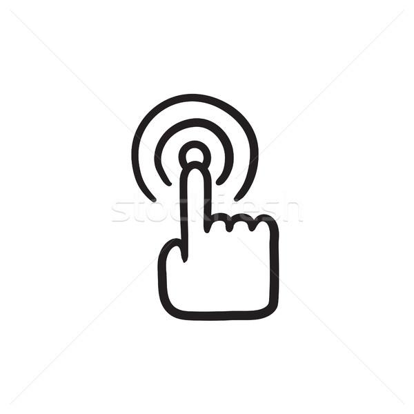 Tela sensível ao toque gesto esboço ícone vetor isolado Foto stock © RAStudio