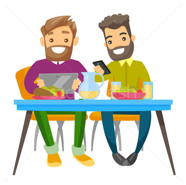 Young caucasian white friends hanging out together Stock photo © RAStudio