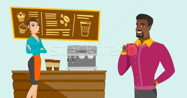 Caucasian barista standing near the coffee machine Stock photo © RAStudio