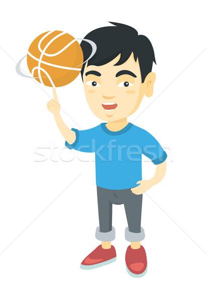 Asia nino baloncesto pelota dedo jóvenes Foto stock © RAStudio