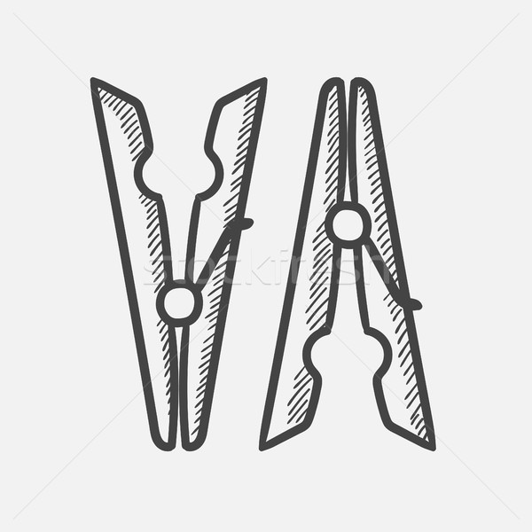 Clothespins hand drawn sketch icon. Stock photo © RAStudio