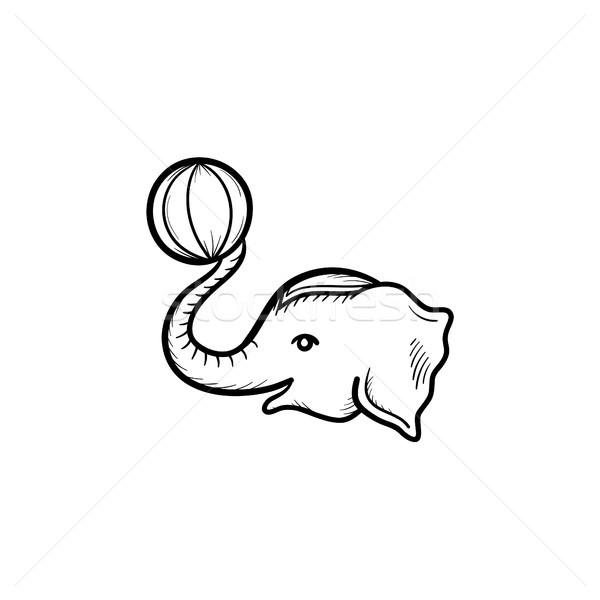 Cirkusz elefánt kézzel rajzolt rajz ikon skicc Stock fotó © RAStudio