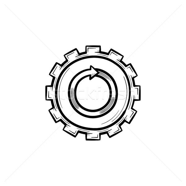 Metal gear hand drawn sketch icon. Stock photo © RAStudio
