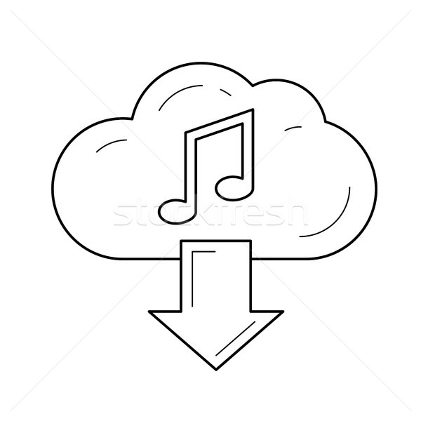 Cloud download audio line icon. Stock photo © RAStudio