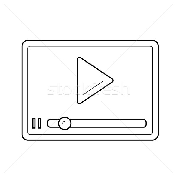 Streaming video speler lijn icon vector Stockfoto © RAStudio