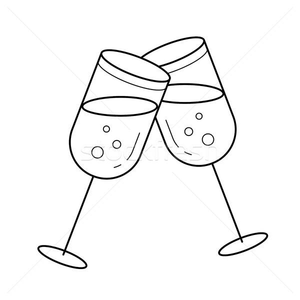 Champagne glasses vector line icon. Stock photo © RAStudio