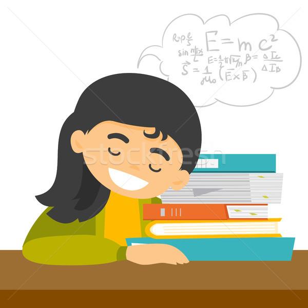 Kaukázusi diák alszik asztal könyvek kimerült Stock fotó © RAStudio