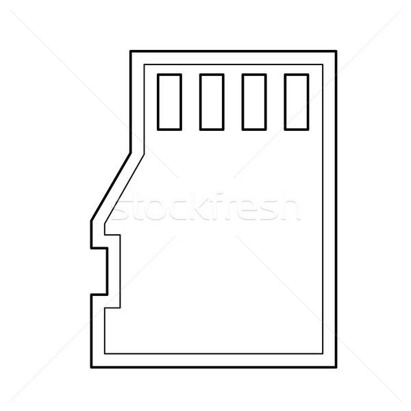 Stock fotó: Emlék · kártya · vonal · ikon · vektor · izolált