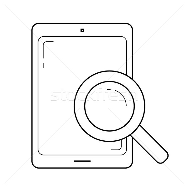 Document search on tablet line icon. Stock photo © RAStudio