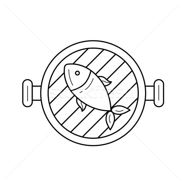Fish grill vector line icon. Stock photo © RAStudio