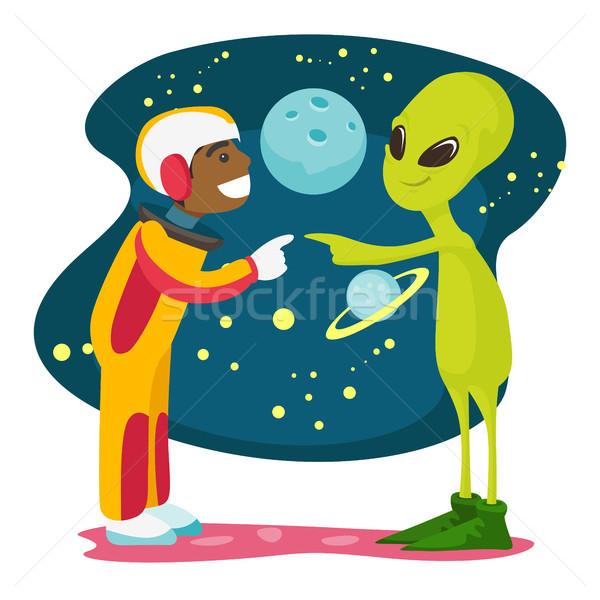 Astronauta alienígena reunir-se primeiro tempo espaço Foto stock © RAStudio