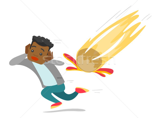 Young african man running from falling meteorite. Stock photo © RAStudio