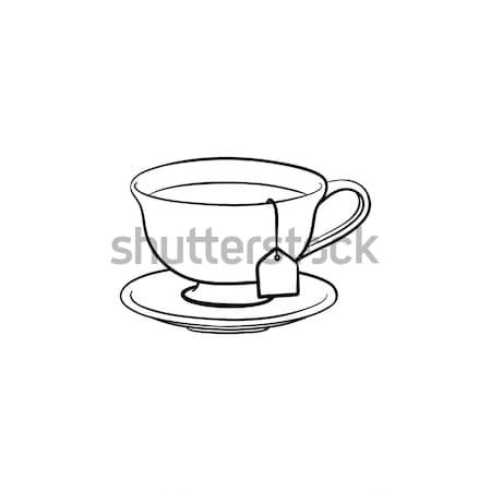 Cup with tea bag hand drawn sketch icon. Stock photo © RAStudio