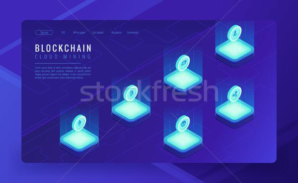 ストックフォト: アイソメトリック · 雲 · マイニング · 着陸 · bitcoinの