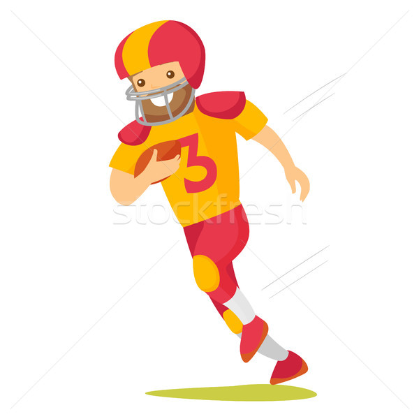 Caucasian white rugby player running with ball. Stock photo © RAStudio
