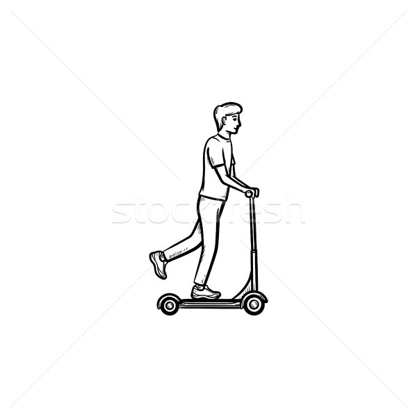 Man on kick scooter hand drawn outline doodle icon. Stock photo © RAStudio
