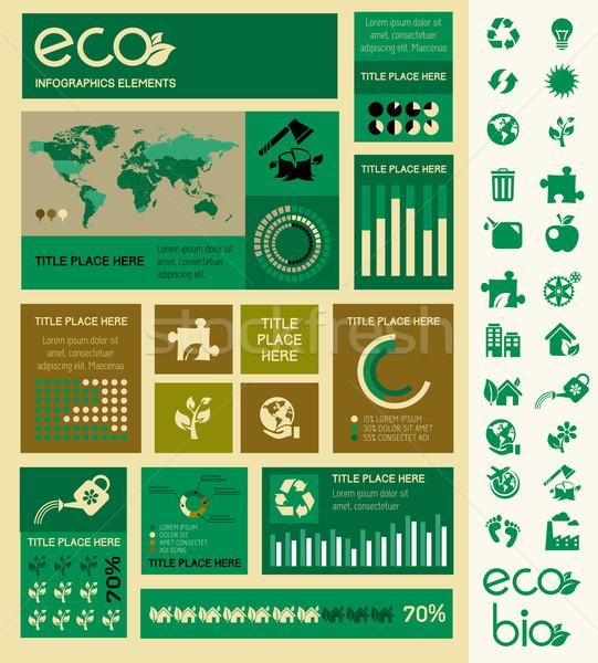ストックフォト: 生態学 · インフォグラフィック · テンプレート · 要素 · 国