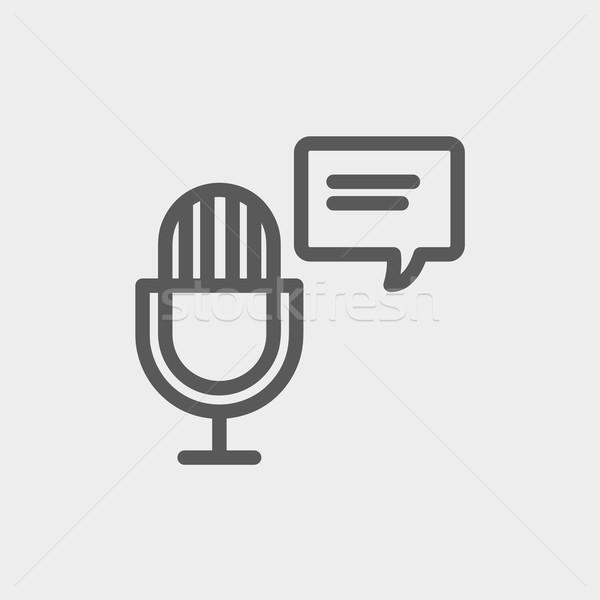 Mikrofon dymka cienki line ikona internetowych Zdjęcia stock © RAStudio