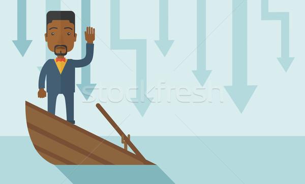 Kudarc fekete üzletember áll süllyed csónak Stock fotó © RAStudio