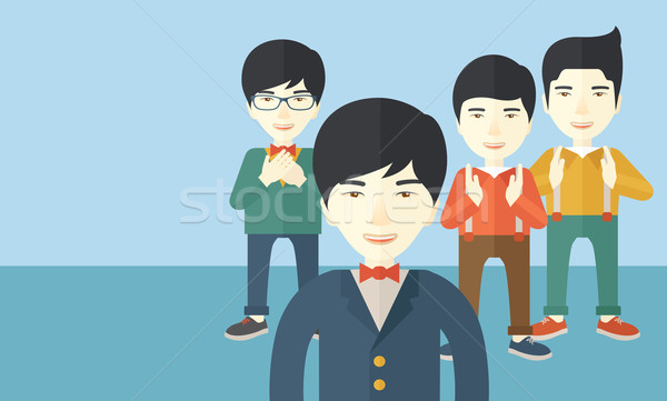 Foto stock: Bonito · asiático · empresários · feliz · em · pé