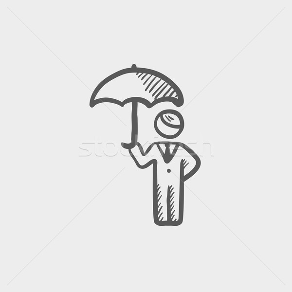 Man with umbrella sketch icon Stock photo © RAStudio
