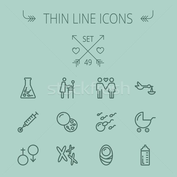 Medicine thin line icon set Stock photo © RAStudio