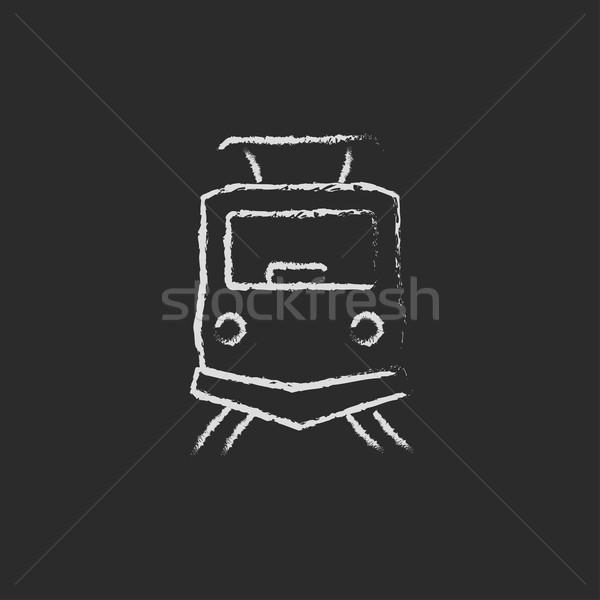 Front view of train icon drawn in chalk. Stock photo © RAStudio