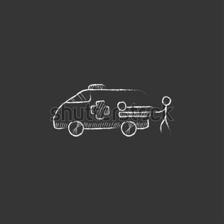 Car towing truck icon drawn in chalk. Stock photo © RAStudio